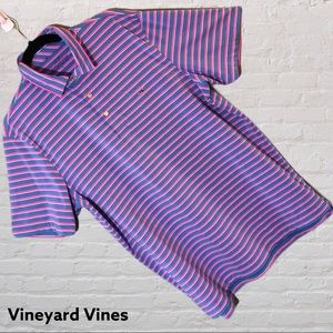 Vineyard Vines Men's Blue Pink Striped Polo Shirt